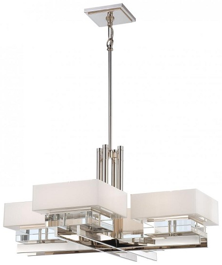 Polished Nickel 8 Light 34In. Width 1 Tier Chandelier From The Eden Roe Collection