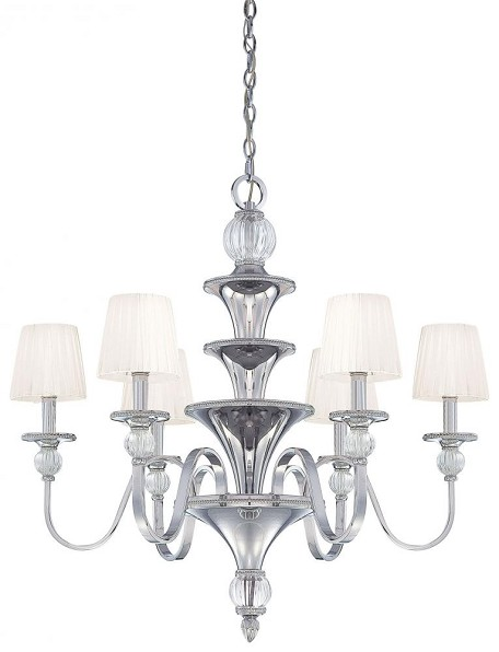 Polished Nickel 6 Light 1 Tier Candle Style Chandelier From The Aise Collection
