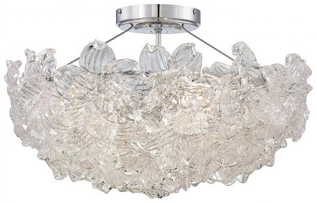 Chrome 4 Light Semi-Flush Ceiling Fixture From The Bella Flori Collection