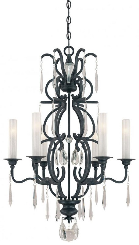"Castellina Collection 6-Light 29"" Aged Iron Chandelier with Crystal Accents N6700-254"