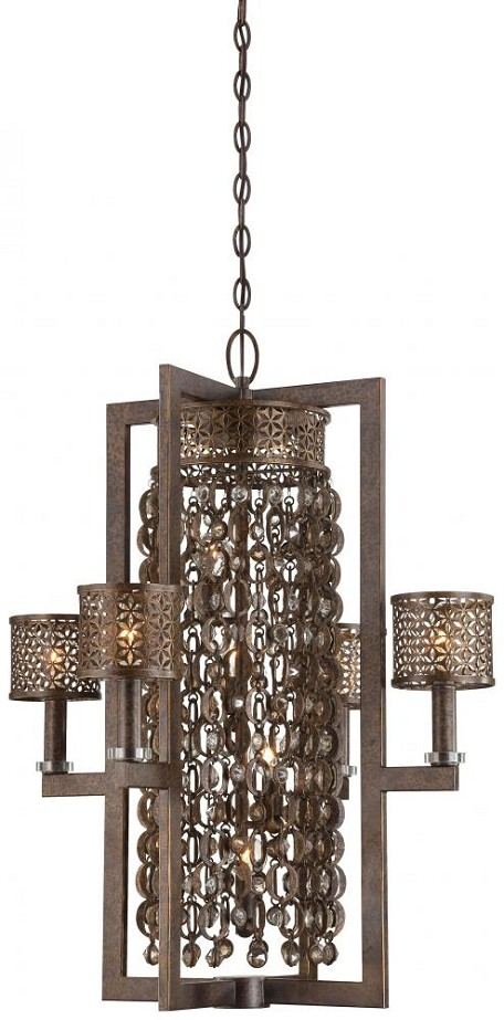 Minka Metropolitan Eight Light French Bronze Jeweled Accents Glass Up Pendant - N6720-258