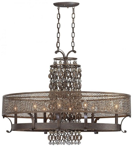 Minka Metropolitan French Bronze Jeweled Accents Glass Up Chandelier - N6727-258