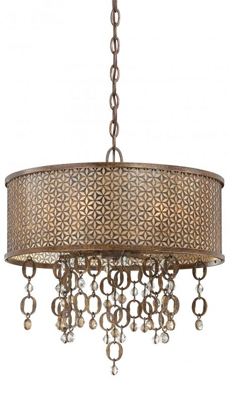 Minka Metropolitan Scavo Glass French Bronze With Jeweled Accents Drum Shade Pendant - N6728-258
