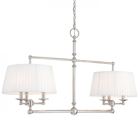 Polished Nickel 6 Light 15In. Width 1 Tier Mini Chandelier From The Continental Classics Collection