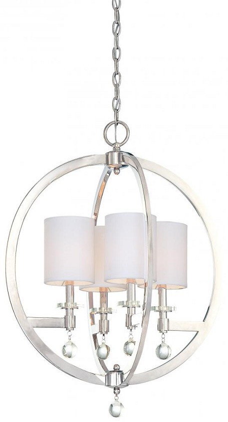 Minka Metropolitan Polished Nickel Eidolon Krystal Accents/white Linen Shades (incl.) Shade Up Pendant - N6840-613