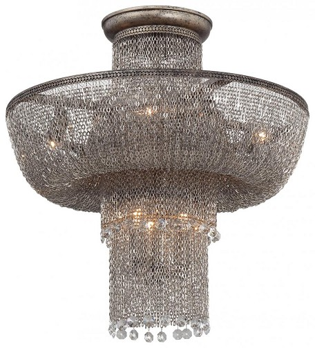 Antique Silver 7 Light Flush Mount Ceiling Fixture From The Shimmering Falls Collection