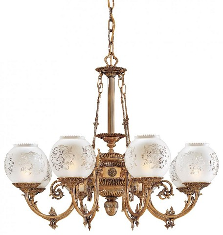 Minka Metropolitan Antique Classic Brass Frosted Etched Glass Up Chandelier - N801908