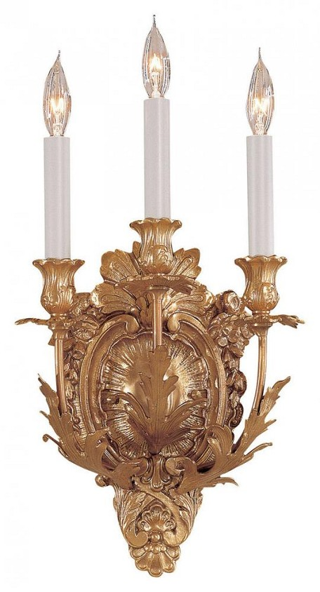 French Gold 3 Light 7.5In. Width Candle-Style Wall Sconce From The Metropolitan Collection