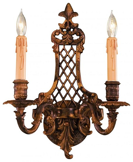 Oxide Brass 2 Light 16In. Width Candle-Style Double Wall Sconce From The Metropolitan Collection
