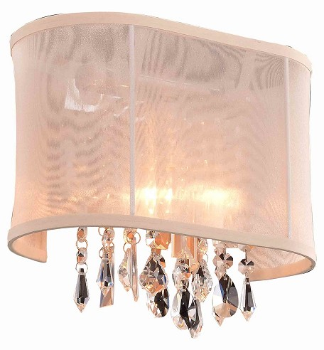 Crystal Fusion Design 1 Light 11'' Wall Sconce with European Crystals and Organza Shade SKU# 85004