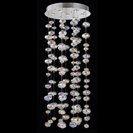 "Bubbles Design 8-Light 59"" Polished Chrome Entryway Chandelier Pendant with Rainbow Clear Glass SKU# 42700"
