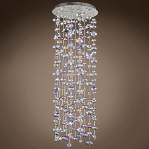 10 Light Polished Chrome Pendant with Rainbow Clear Glass  - 394044