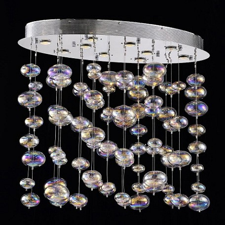 "Bubbles Design 10-Light 35"" Polished Chrome Linear Chandelier Pendant with Rainbow Clear Glass SKU# 42704"