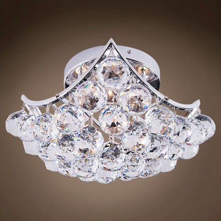 "Contemporary 4-Light Square 8"" Chrome Ceiling Flush Mount with European Crystal SKU# 10611"