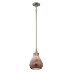 Brushed Nickel Crystal Ball Single-Bulb Indoor Pendant with Teardrop Glass Shade - 110688
