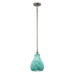 Brushed Nickel Crystal Ball Single-Bulb Indoor Pendant with Teardrop Glass Shade - 110690
