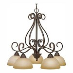 Peppercorn Five Light Chandelier From The Riverton Collection - Golden 1567-D5 PC