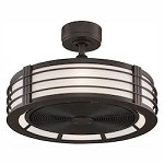 Beckwith Fan With Cream Shade And Black Blade - Fanimation FP7964OB