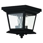 Black Hathaway 2 Light Outdoor Flush Mount Ceiling Fixture