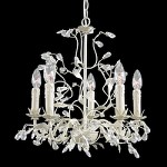 5 Light Silver/Crm Leaf Clear Crystal Ceiling Fixture - Bethel RT26
