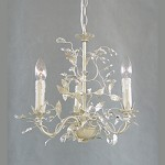 3 Light Silver Leaf Clear Crystal Ceiling Fixture - Bethel RT29