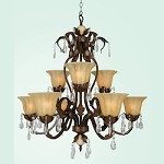 9 Light White Crystal Drop Amber Glass Shade - Bethel YS03
