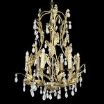 6 Light Gold Leaf Clear Crystal Ceiling Fixture - Bethel RT58