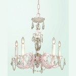 5 Light Pink Color Cast Body Crystal Ceiling Fixture  - Bethel SU05