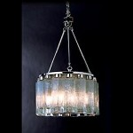 Eight Light Polished Chrome Seeded Shaker Glass Drum Shade Pendant - Trend Lighting TP7936