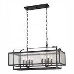 Aged Charcoal 8 Light 1 Tier Linear Chandelier from the Camden Square Collection - 217675