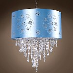 1 Light Crystal Pendant Light in Chrome Finish with Baby Blue Shade and Crystal - 231707