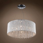 10 Light Shaded Crystal Pendant Chandelier in Chrome Finish with Crystal - 231709