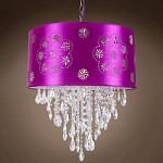 1 Light Crystal Pendant Light in Chrome Finish with Purple Shade and Crystals  - 231714