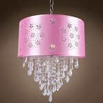 1 Light Crystal Pendant Light in Chrome Finish with Pink Shade and Crystal - 231721