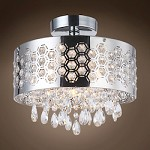 4 Light Shaded Crystal Pendant Flush Mount Light in Chrome Finish with Crystals  - 231722