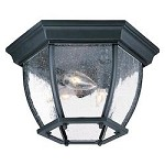 Three Light Matte Black Outdoor Flush Mount