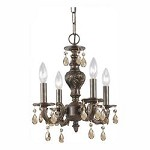 Four Light Venetian Bronze Golden Teak Swarovski Elements Glass Up Chandelier - Crystorama 5024-VB-GTS
