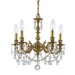 Five Light Aged Brass Swarovski Elements Glass Up Mini Chandelier - Crystorama 5505-AG-CL-S