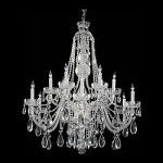 Traditional Crystal 12 Light Clear Swarovski Crystal Chrome Chandelier III