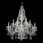 Traditional Crystal 12 Light Clear Swarovski Crystal Polished Brass Chandelier I