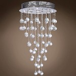 6 Light Pendant Chandelier Light in Chrome Finish with Crystal and Murano Beads - 249546