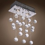 2 Light Flush Mount Light in Chrome Finish with Clear Crystal and Murano Beads - 249547