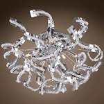 8 Light Crystal Ribbon Flush Mount Light in Chrome Finish with Crystal - 249560
