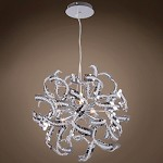 9 Light Crystal Pendant Chandelier Light in Chrome Finish with Crystal Accents  - 249562