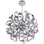 15 Light Crystal Ribbon Pendant Chandelier Light in Chrome Finish with Crystal - 249564