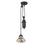 Tiffany pulldown 1 Light Pendant In Tiffany Bronze - 287431