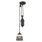 Tiffany pulldown 1 Light Pendant In Tiffany Bronze - 287434