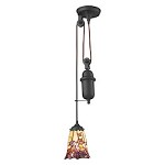 Tiffany pulldown 1 Light Pendant In Tiffany Bronze - 287435