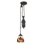 Tiffany pulldown 1 Light Pendant In Tiffany Bronze - 287436