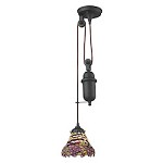Tiffany pulldown 1 Light Pendant In Tiffany Bronze - 287438